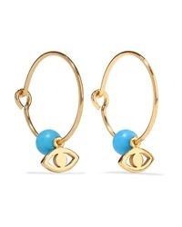 Iam By Ileana Makri - Multicolor Satelite Eye Gold-plated Turquoise Hoop Earrings - Lyst