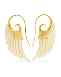Noor Fares - Metallic Wing 18-karat Gold Horn Earrings - Lyst