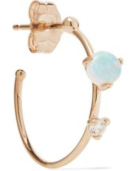 Wwake - Metallic Small Two Step 14-karat Gold, Opal And Diamond Earring - Lyst