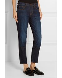 J Brand - Blue Distressed Low-rise Skinny Jeans - Lyst