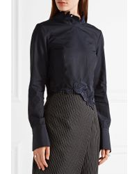 3.1 Phillip Lim - Black Asymmetric Embroidered Cotton-poplin Top - Lyst