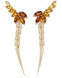 Stephen Webster | Metallic Magnipheasant Feathers 18-karat Gold, Citrine And Diamond Earrings | Lyst