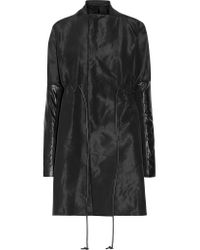 Rick Owens | Black Leather-trimmed Faille Coat | Lyst
