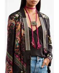 Etro - Multicolor Silk, Burnished Gold-tone And Stone Necklace - Lyst