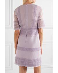 Giambattista Valli Multicolor Guipure Lace-paneled Crepe And Chiffon Mini Dress