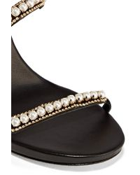 Rene Caovilla - Black Embellished Suede And Leather Sandals - Lyst