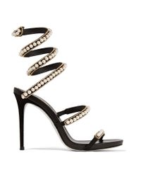 Rene Caovilla | Black Embellished Suede And Leather Sandals | Lyst