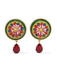 Dolce & Gabbana | Red Gold-tone, Resin And Crystal Clip Earrings | Lyst