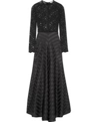 Ganni | Black Kendal Lace And Silk-jacquard Gown | Lyst