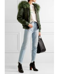 Mr & Mrs Italy - Green Shearling-trimmed Shell Bomber Jacket - Lyst