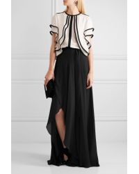 Elie Saab - Black Ruffled Silk-georgette Top - Lyst