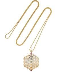 Noor Fares - Metallic Chakra Amulet 18-karat Gold Multi-stone Necklace - Lyst