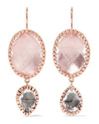 Larkspur & Hawk | Pink Sadie Rose Gold-dipped, Amethyst And Quartz Earrings | Lyst