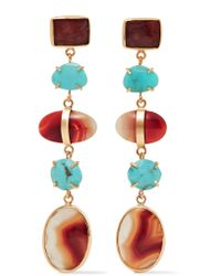 Melissa Joy Manning - Metallic 14-karat Gold, Turquoise And Agate Earrings - Lyst