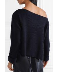 Vince - Blue One-shoulder Ribbed Cashmere Sweater - Lyst