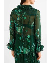 Anna Sui - Green Iridescent Moonlight Garden Fil Coupé Silk-blend Chiffon Blouse - Lyst