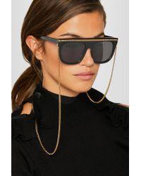 Stella McCartney Black Chain-trimmed D-frame Acetate Sunglasses