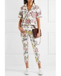 House of Holland | White Floral-print Denim Shirt | Lyst