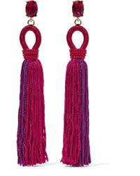 Oscar de la Renta   Pink Tasseled Silk, Gold-plated And Swarovski Crystal Clip Earrings   Lyst