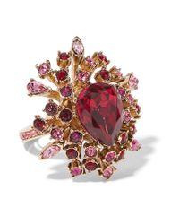 Oscar de la Renta | Metallic Gold-plated Crystal Ring | Lyst