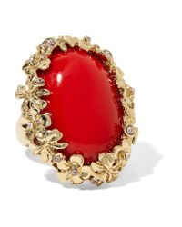 Oscar de la Renta | Metallic Gold-plated, Swarovski Crystal And Resin Ring | Lyst