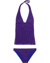 Missoni - Purple Mare Fringed Crochet-knit Bikini - Lyst