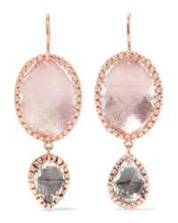 Larkspur & Hawk - Pink Sadie Rose Gold-dipped, Amethyst And Quartz Earrings - Lyst