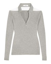 ADEAM | Gray Tulle-paneled Ribbed-knit Top | Lyst