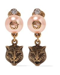 Gucci | Metallic Gold-tone, Faux Pearl And Swarovski Crystal Clip Earrings | Lyst