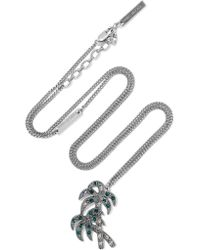 Marc Jacobs - Metallic Palm Tree Silver-plated Crystal Necklace - Lyst