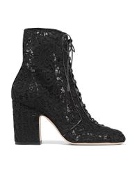 Laurence Dacade | Black Milly Leather-trimmed Lace Ankle Boots | Lyst