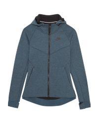 Nike | Blue Tech Fleece Cotton-blend Jersey Hooded Top | Lyst