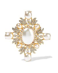 Kenneth Jay Lane | Metallic Gold-plated, Crystal And Faux Pearl Brooch | Lyst
