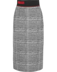 Fendi - Gray Jersey-trimmed Checked Wool And Silk-blend Midi Skirt - Lyst