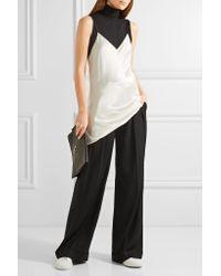 DKNY - Black Pleated Stretch-twill Wide-leg Pants - Lyst