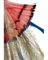 Etro - Red Bead And Feather Earrings - Lyst