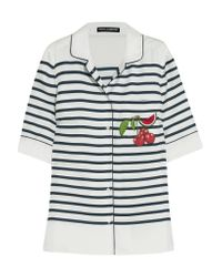 Dolce & Gabbana | White Appliquéd Striped Silk-twill Shirt | Lyst