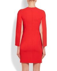 Givenchy | Red Cape-sleeve Cady Dress | Lyst