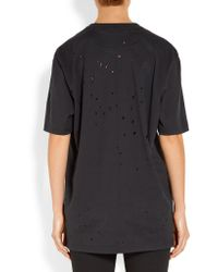 Givenchy | Black Distressed Printed Cotton-jersey T-shirt | Lyst
