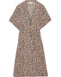 Fleur du Mal - Multicolor Leopard-print Silk-satin Robe - Lyst