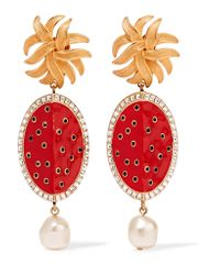 Dolce & Gabbana | Metallic Gold-tone, Faux-pearl And Crystal-embellished Resin Clip Earrings | Lyst