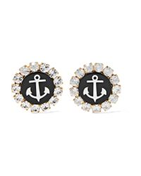 Dolce & Gabbana | Metallic Gold-tone, Swarovski Crystal And Resin Clip Earrings | Lyst