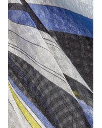 Emilio Pucci - Blue Printed Hammered Silk-chiffon Kaftan - Lyst