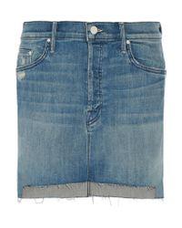 Mother | Blue The Step Distressed Stretch-denim Mini Skirt | Lyst