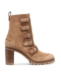 Christian Louboutin | Brown Who Walks Buckled Suede Ankle Boots | Lyst