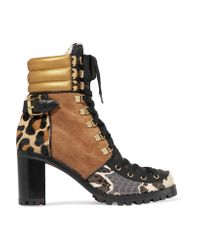 Christian Louboutin   Black Who Runs Suede, Elaphe, Metallic Leather And Calf Hair Ankle Boots   Lyst