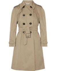 Miu Miu | Natural Belted Cotton-blend Gabardine Trench Coat | Lyst