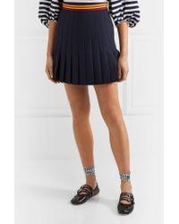 Miu Miu - Blue Pleated Wool-blend Mini Skirt - Lyst