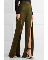 Balmain - Green Stretch-knit Wide-leg Pants - Lyst