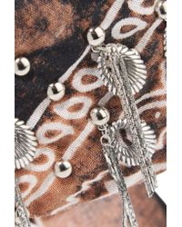 DANNIJO - Brown Printed Cotton And Oxidized Silver-plated Choker - Lyst